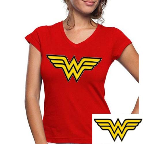 camiseta wonder woman dc comics logo