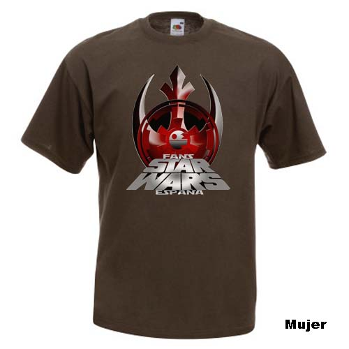 camiseta fans star wars españa marrón mujer