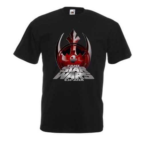 camiseta fans star wars españa mujer negra