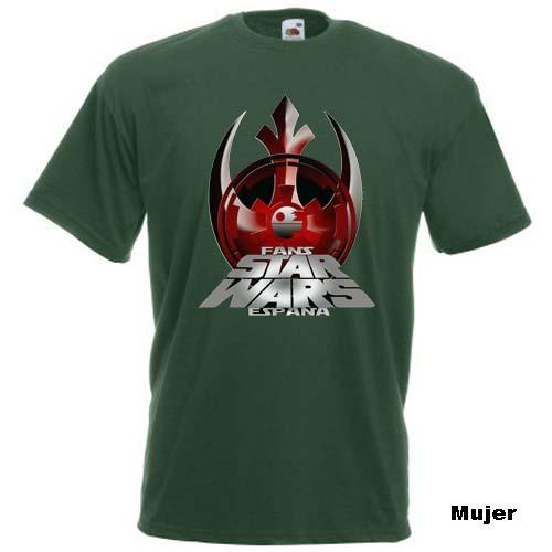 camiseta fans star wars españa verde mujer
