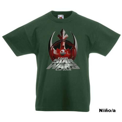 camiseta fans star wars españa verde niño y niña