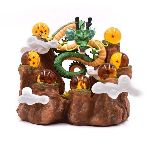 figura expositor shenron en montaña con bolas de dragón
